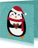 Lieve kerstkaart met pinguin en hartje