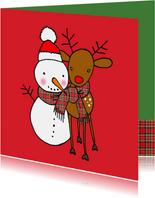 Lieve kerstkaart met sneeuwpop en rendier