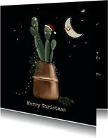 Lieve kerstkaart van vriendelijke cactussen in koperen pot