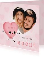 Lieve Liefdekaart met snoephartje foto & I love you so much