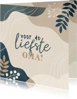 Lieve moederdag kaart voor oma met vormen en plantjes