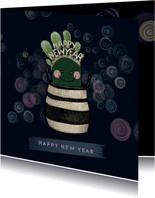 Lieve nieuwjaarskaart cactus met diadeem happy new year!
