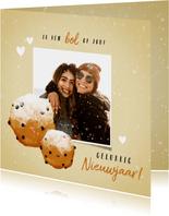 Lieve nieuwjaarskaart met oliebollen foto en hartjes