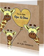 Lieve Opa en Oma giraffe hart