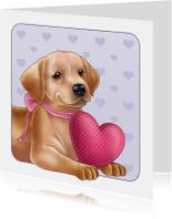 Valentijnskaarten - Lieve puppy met hartje