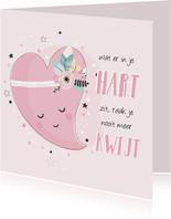 Lieve roze kaart met getekend hart voor een vriendin