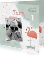 Lieve uitnodiging kinderfeestje 1 jaar flamingo en waterverf