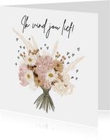 Lieve valentijnskaart met boeket bloemen in boho tinten