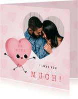 Lieve Valentijnskaart met foto, snoephartje en hartjes