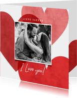 Lieve valentijnskaart met hartjes, foto en I love you!