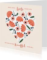 Lieve valentijnskaart met roze rode bloemen in hartvorm