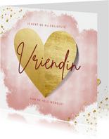Lieve valentijnskaart voor liefste vriendin met gouden hart