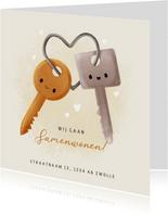 Lieve verhuiskaart samenwonen met sleutels en hartjes