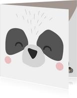 Lieve verjaardagskaart met het gezicht van een panda