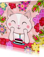 Lieve verjaardagskaart met kat, bloemen en taart