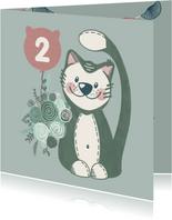 Lieve verjaardagskaart met lieve knuffelkat