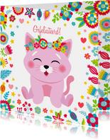 Lieve verjaardagskaart poesje bloemen en hartjes