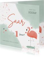 Lieve verjaardagskaart roze en mint flamingo waterverf