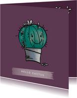 Lieve vriendschapskaart met een blije cactus in een pot