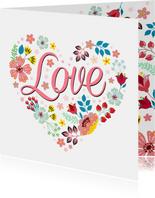 Love valentijnskaart met bloemen en planten
