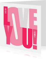 Love you Karte Text in pink