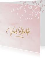 Luxe condoleance kaart vogels roze