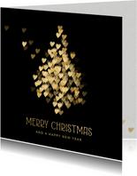 Luxe kerstkaart met gouden kerstboom hartjes
