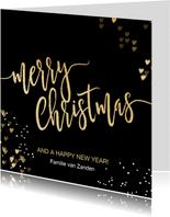 Luxe kerstkaart zwart goud Merry Christmas