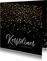 luxe uitnodiging kerstdiner sterren goud confetti