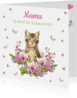 Mama jij bent de allerliefste - kaart met kitten