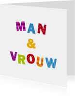 Man & Vrouw Gekleurde Letters