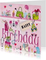 Meiden spullen Happy Birthday kado Roze