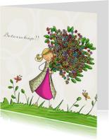 Meisje bos bloemen vlinders