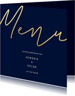 Menukaart met gouden 'MENU' vierkant