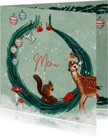 Menukaart met kersttakjes