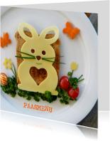 Menukaart Pasen - versierd brunch bord