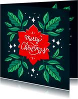 Merry Christmas groene bladeren illustratie