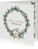 Merry Christmas kerstkrans besjes - kerstkaart