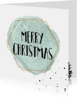 Merry Christmas Waterverf goud kader