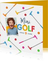 Minigolf Kindergeburtstag Einladungskarte mit Foto