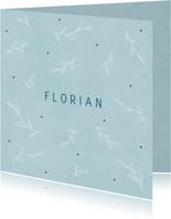 Minimalistisch blauw geboortekaartje botanische takjes