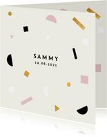 Minimalistisch geboortekaartje met gekleurde confetti