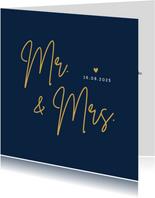 Minimalistische trouwkaart Mr & Mrs - wij zijn getrouwd!