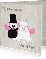 Mo Card leuke en grappige trouwkaart uiltjes stel
