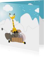 Kerstkaarten - Mocards sneeuw kerst slee kaart