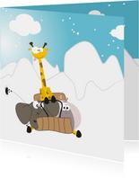 Mocards sneeuw kerst slee kaart