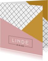 Modern geboortekaartje meisje met roze en gele vlakken