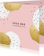 Modern geboortekaartje voor een meisje met verf en spikkels
