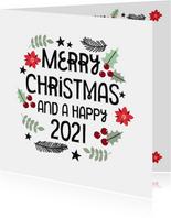 Modern kerstkaart merry christmas & hulst blaadjes