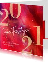 Moderne kerstkaart 2020 in rood met goud